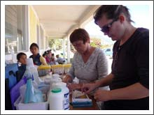 Andree working with GIFT volunteers